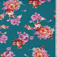 Teal/Pink/Orange Floral Bouquet Double Brushed Jersey Knit