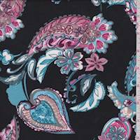 Black/Pink/Blue Paisley Double Brushed Jersey Knit