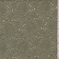 Olive Linen Blend Embroidered Floral Eyelet