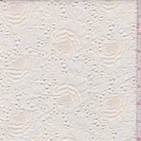 Dark Ivory Linen Blend Embroidered Floral Eyelet