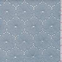 Dusty Blue Linen Blend Embroidered Poppy Eyelet