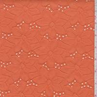 Orange Linen Blend Embroidered Floral Eyelet