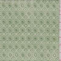 Light Green Embroidered Medallion Linen Blend