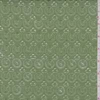 Avocado Green Embroidered Medallion Linen Blend