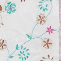 White/Aqua Green Embroidered Floral Scroll Lawn
