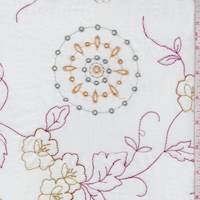 White/Pink/Gold Embroidered Floral Lawn
