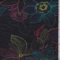 Black Embroidered Stylized Floral Fine Line Twill