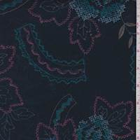 Midnight Blue Embroidered Floral Linen Blend