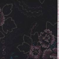 Black Embroidered Floral Linen Blend