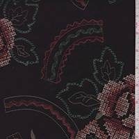 Raisin Brown Embroidered Floral Linen Blend
