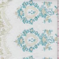 White/Aqua Floral Baroque Embroidered Cotton Lawn