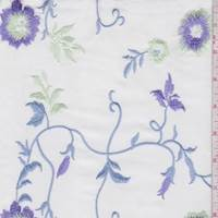 White/Lilac Embroidered Floral Poplin