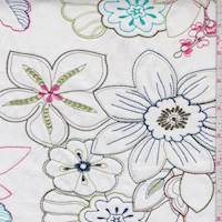 White Multicolor Embroidered Floral Cotton