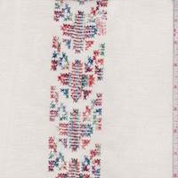 Ivory Embroidered Cross Stitch Stripe Linen