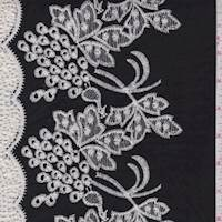 Black/White Embroidered Cluster Lawn