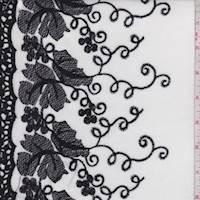 White/Black Embroidered Grapevine Lawn