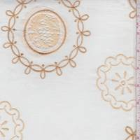 Pale Ivory/Gold Embroidered Circular Medallion Lawn