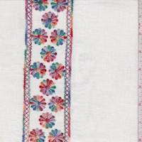 White Multi Embroidered Floral Stripe Linen