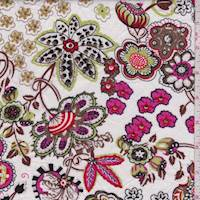 White/Lime/Brown Embroidered Floral Lawn