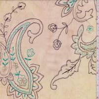 Beige/Celery Embroidered Paisley Crinkled Chiffon