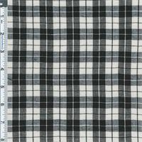 *5 7/8 YD PC--Black/Natural Simple Plaid Shirting