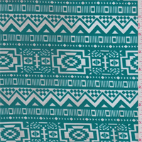 *2 1/2 YD PC--ITY Bright Jade Green Southwest Print Jersey Knit