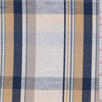 *3 YD PC--White/Gold/Navy Plaid Linen
