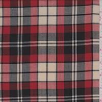 *5 3/8 YD PC--Oxford Tan Plaid Shirting