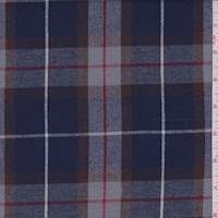 *1 3/8 YD PC--Dark Blue/Grey Plaid Flannel