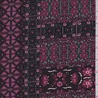 *2 7/8 YD PC--Burgundy Decor Block ITY Jersey Knit