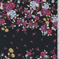 *1 1/4 YD PC--Black/Magenta Multi Floral Crepe de Chine