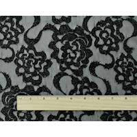 *4 1/2 YD PC--Black Metallic Floral Swirl Lace Mesh