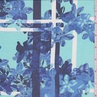 *2 5/8 YD PC--Turquoise Floral Plaid Silk Chiffon