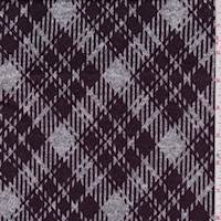 *2 3/4 YD PC--Heather Grey/Plum Plaid Sweater Knit