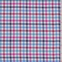 Navy/Berry/Sky Check Twill Shirting