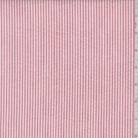Brick Red/White Cotton Stripe Seersucker