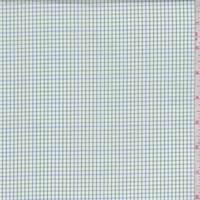 White/Grass/Blue Mini Check Cotton Shirting