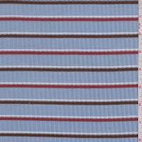 Cloud Blue/Mocha/Rust Stripe Poor Boy Rib Knit