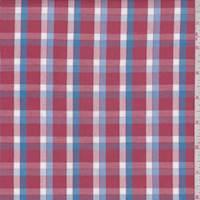 Brick Red/Sky Plaid Cotton Oxford Shirting
