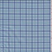 Blue/Seafoam Plaid Cotton Shirting