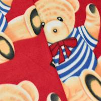 *2 YD PC--Red/Beige/Multi Bear Alphabet Printed Fleece