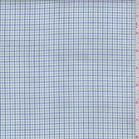 Ink/White/Green Mini Check Cotton Shirting
