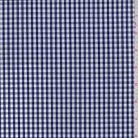 Navy/White Gingham Check Cotton Shirting