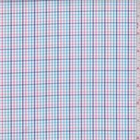 White/Navy/Teal Check Cotton Shirting