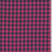 Coral Red/Black Check Cotton Shirting