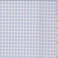 White/Chambray Blue Check Cotton Shirting