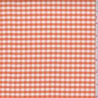 Tangerine/White Gingham Check Cotton Oxford