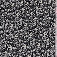 Black/Cream Paisley Crepe Georgette