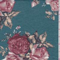 *4 1/4 YD PC--Spruce Blue Rose Jersey Knit