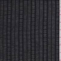 *1 YD PC--Black Leno Stripe Shirting